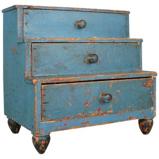Early 19th Century Miniature Chest in Original Blue Painted Finish For Sale
