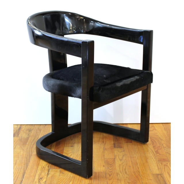 Karl Springer set of six Modern 'Onassis' armchairs with black lacquer surface and original pony hair upholstered seats....