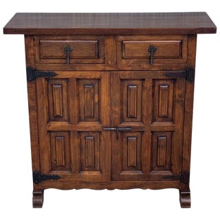 19th Catalan Spanish Carved Walnut Highboy , LIttle Buffet or Console For Sale