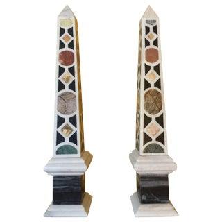 Late 20th Century Italian Specimen Marble Obelisks - A Pair For Sale