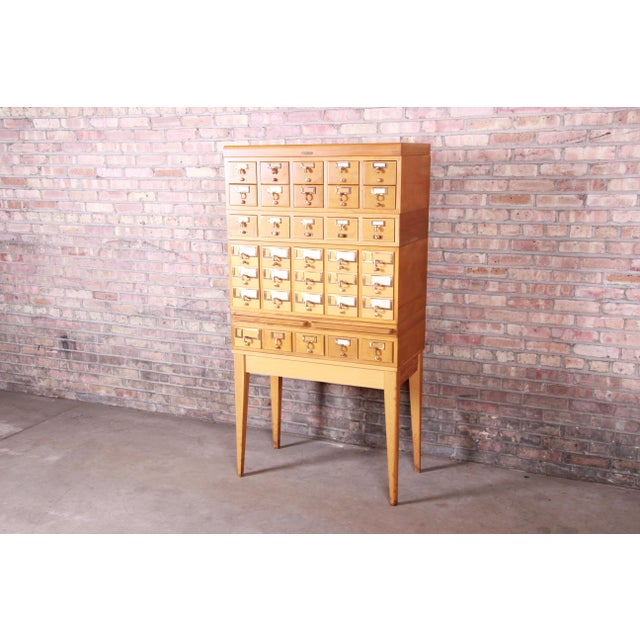 Mid-Century Modern Mid-Century Modern 35-Drawer Library Card Catalog by Remington Rand For Sale - Image 3 of 13
