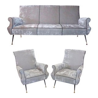 Mid-Century Modern Italian Living Room Set by Gigi Radice for Minotti - 3 Pc. For Sale