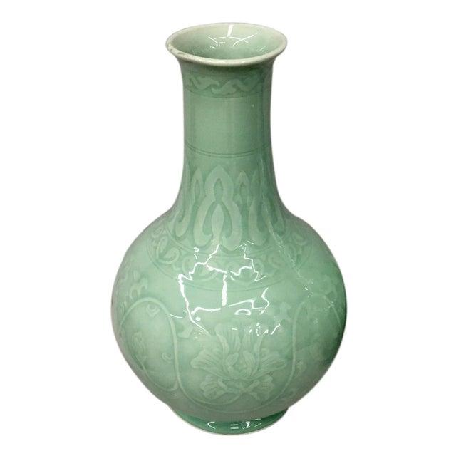 Floral Celadon Vase Chairish