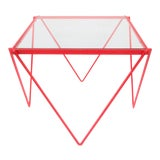 Image of '80s Post-Modern Red Enamel Side Table or End Table For Sale