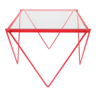 '80s Post-Modern Red Enamel Side Table or End Table For Sale