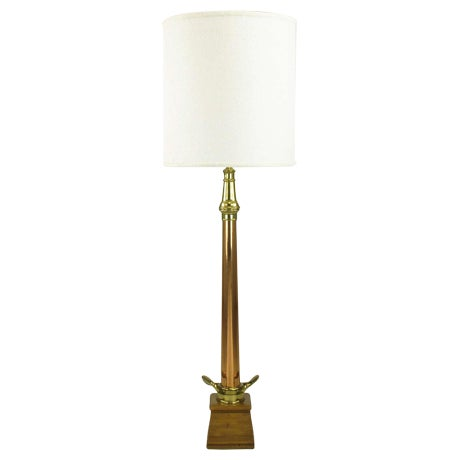 """53"""" Tall Brass & Copper Fire Nozzle Table Lamp. For Sale"""