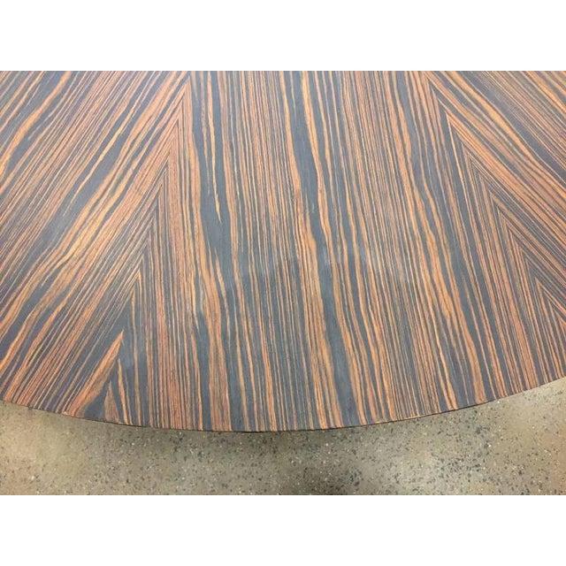1970s Large Italian Zebra Wood Center Table For Sale - Image 5 of 5