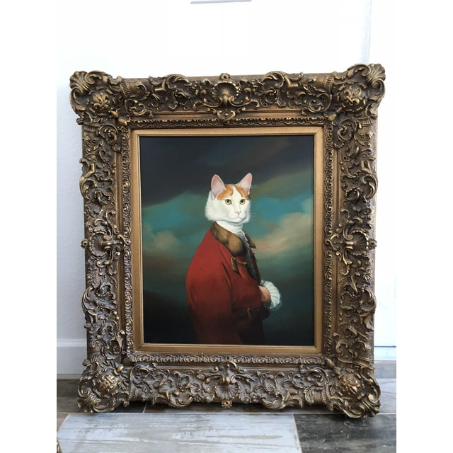 """Antique 18th Century English """"Cat in Suit"""" Oil Painting For Sale - Image 6 of 6"""