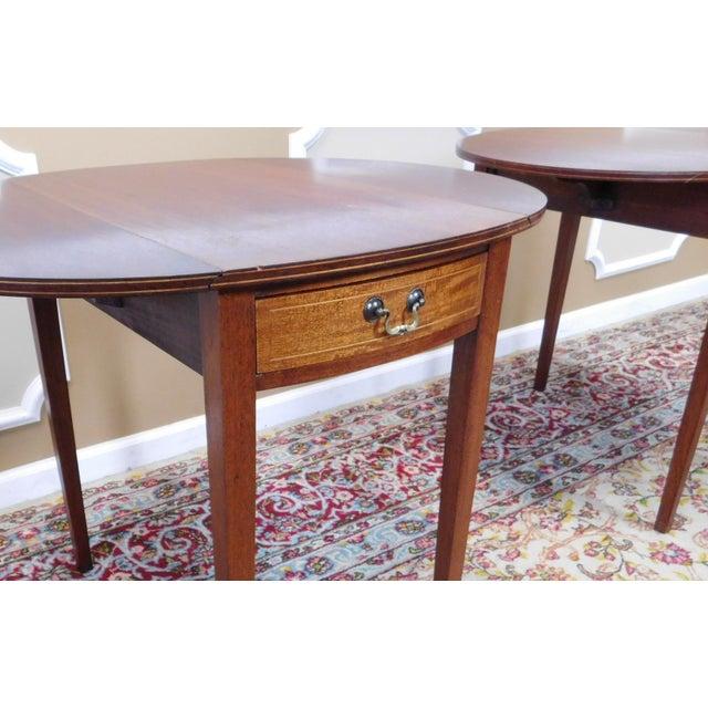 Vintage Federal Style Pembroke Drop Leaf End Tables - Pair For Sale - Image 9 of 9