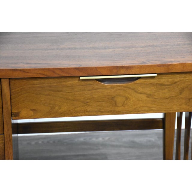 Kent Coffey Tableau Walnut and Brass Desk For Sale - Image 11 of 12