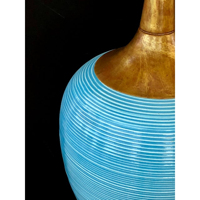 Mid-Century Modern A Striking Pair of American Mid-Century Light Blue Ovoid Ceramic Lamps For Sale - Image 3 of 4