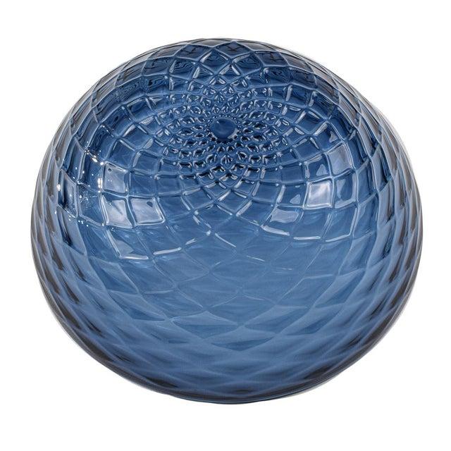 Modern Slate Blue Diamond Cut Bowl For Sale - Image 3 of 6