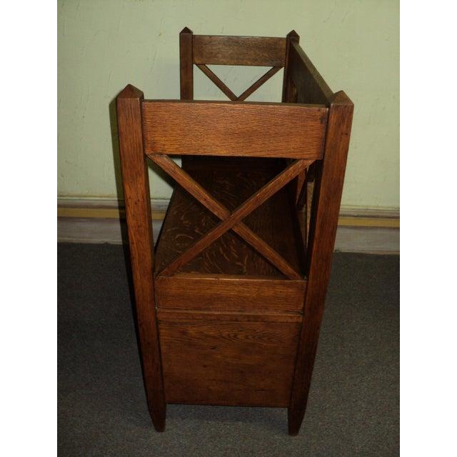 Antique Arts & Crafts Mission Oak Hall Storage Bench For Sale - Image 4 of 9