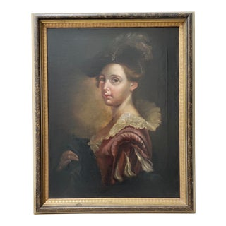 """19th C. """"Fashionable Young Woman"""" Portrait Oil Painting For Sale"""