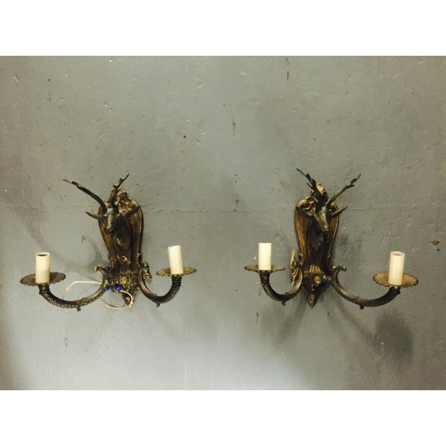 Vintage Brass Deer Head Wall Sconces - A Pair - Image 2 of 8