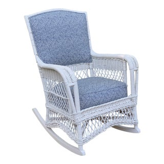 Early 20th Century Victorian Heywood Wakefield White Wicker Rocking Chair For Sale