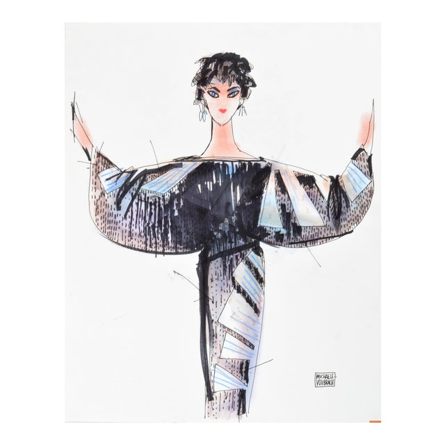 "1940s ""Liz Taylor"" Fashion Drawing by Michaele Vollbracht For Sale - Image 5 of 5"