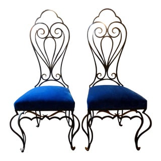 French Iron Chairs Attributed to Jean-Charles Moreux - a Pair For Sale