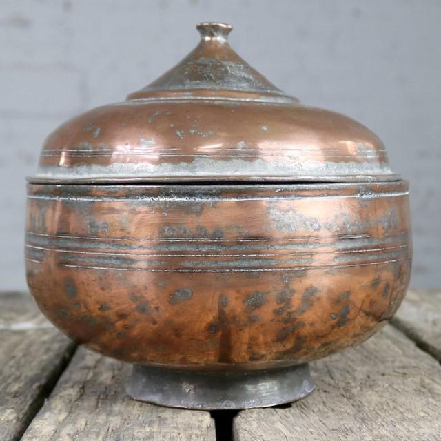 Antique Turkish Copper Medium Sized Footed Bowl With Lid Hand Forged Incised Tinned For Sale - Image 6 of 13