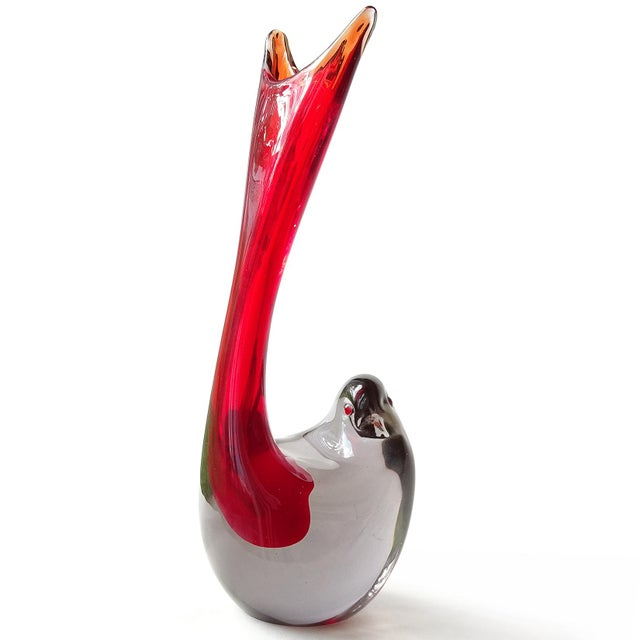 Mid-Century Modern Cenedese Murano 1961 Sommerso Red Gray Italian Art Glass Bird Sculptural Vase For Sale - Image 3 of 10