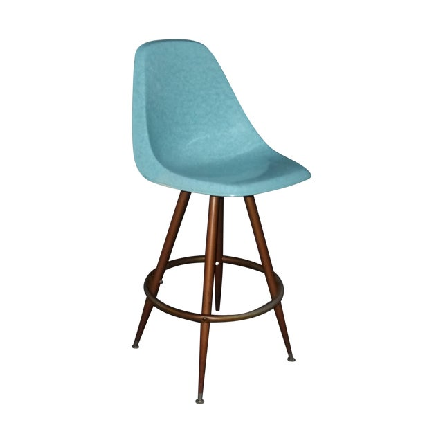 Mid-Century Turquoise Fiberglass Peg Leg Bar Stool - Image 1 of 7