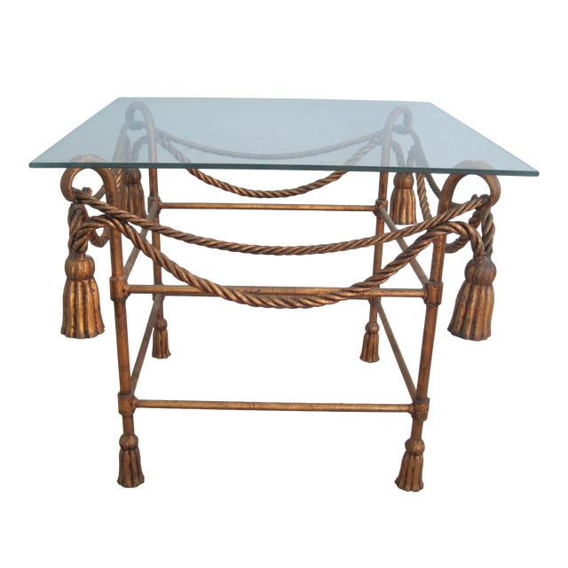 Mid-Century Italian Hollywood Regency Table With Gilt Cast Metal Rope Tassels Base Only For Sale