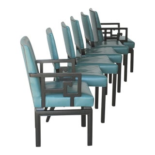 Set of Six Greek Key Turquoise Leather Ebonized Far East Baker Dining Chairs For Sale