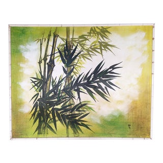 Large Framed Wing Lee Mid-Century Asian Bamboo Painting