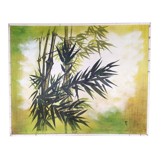 Large Framed Wing Lee Mid-Century Asian Bamboo Painting For Sale