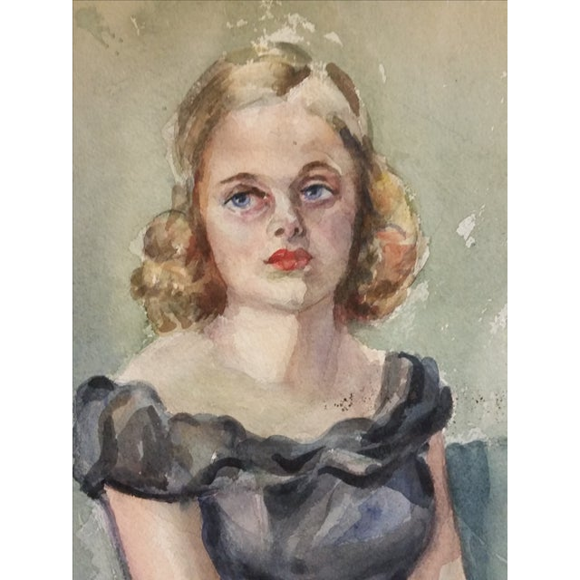 1930s Watercolor Portrait of a Young Girl - Image 2 of 6