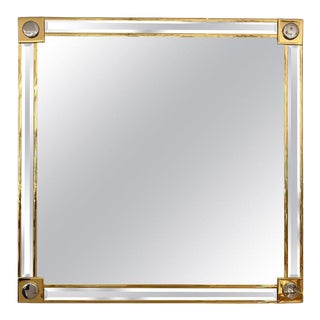 Vintage Maison Jansen Attributed Wall Mirror Hollywood Regency Gold Plated and Beveled For Sale