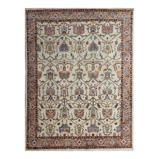 """Orange Hand-Knotted Wool Rug - 8' x 10"""" For Sale"""