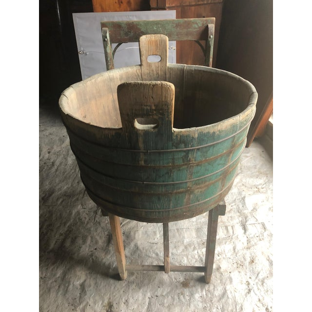 Turquoise Distressed Country Washing Barrel Tub and Stand For Sale - Image 8 of 13