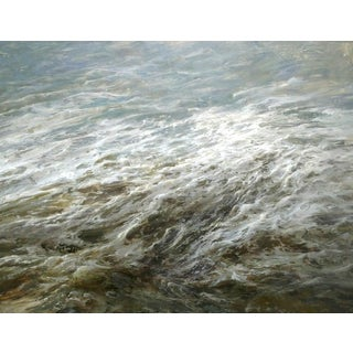 """Beckham Oil Painting """"After the Storm"""", Contemporary Gray Seascape For Sale"""