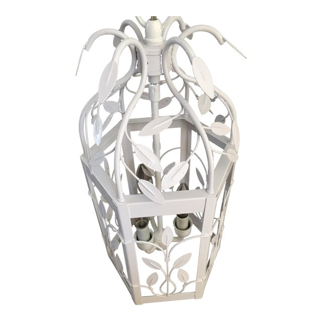 Vintage White Hexagon Light Fixture - Image 1 of 11