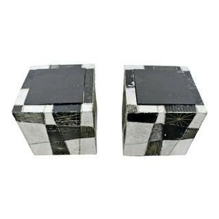 Mid Century Modern Pair of Paul Evans Argente Cube Chrome Slate Side End Tables For Sale