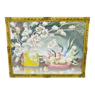 Early Decorative Floral Gesso Framed Still Life Gouache Watercolor For Sale