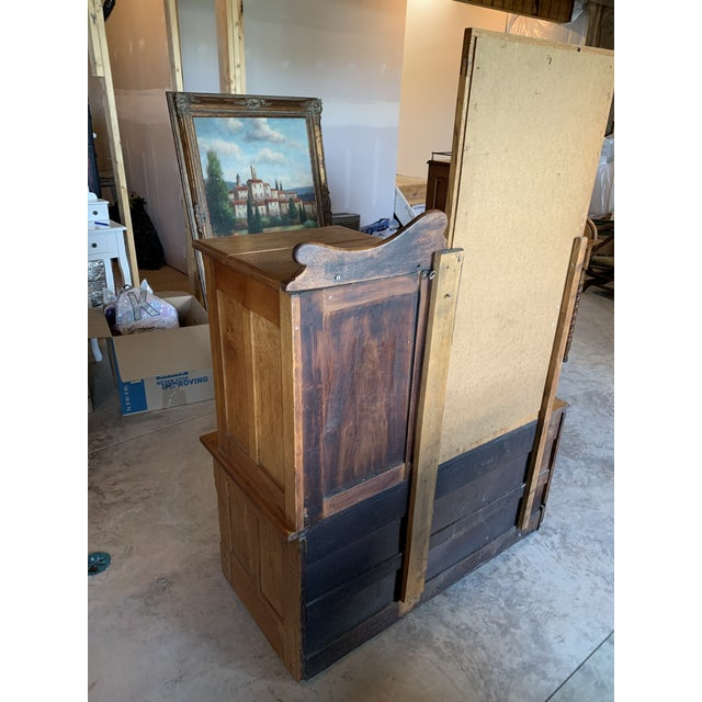 Antique Gentleman's Floral Carved Wardrobe With Static Mirror For Sale In Lexington, KY - Image 6 of 11