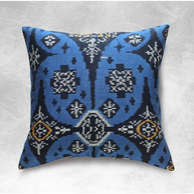 Indigo Handwoven Ikat Pillow From Bali - Image 4 of 6
