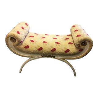 1960s Vintage Regency Style Upholstered Bench For Sale