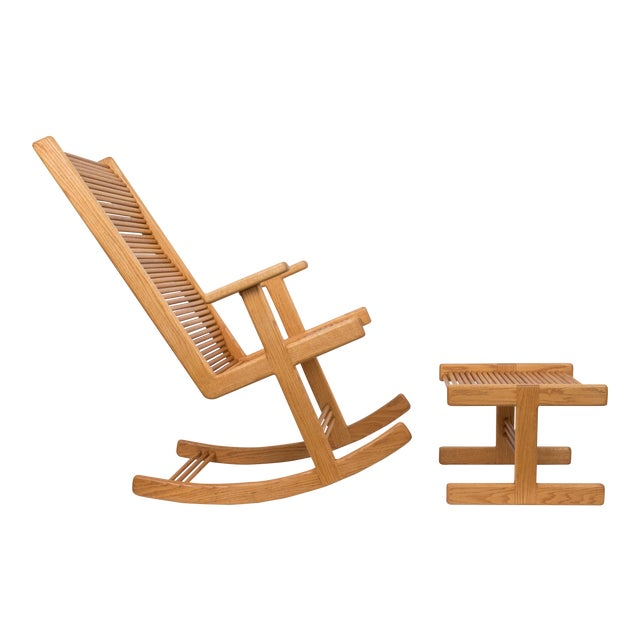 1980s Stephen Hynson Oak Dowel Rocking Chair and Ottoman For Sale