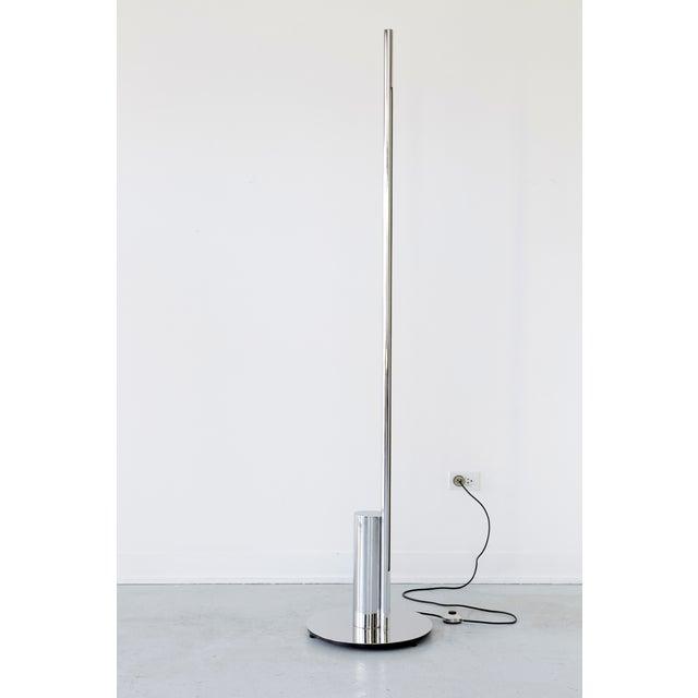 """Linea floor lamp designed by Nanda Vigo for Arredoluce Italy, c 1960s chrome 72"""" h x 16"""" w x 16"""" d"""