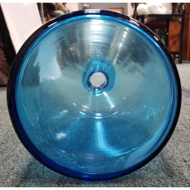 Danish Mid Century Modern Otto Holmegaard Style Blue Glass Gulvvase For Sale - Image 4 of 5