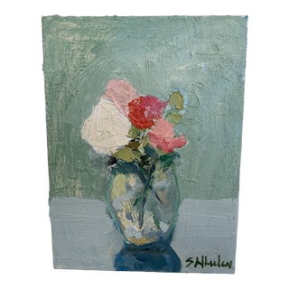 Mini Floral Oil Paintings by S Wheeler For Sale