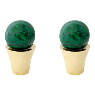 Addison Weeks Tanner Knob, Brass & Malachite - a Pair For Sale