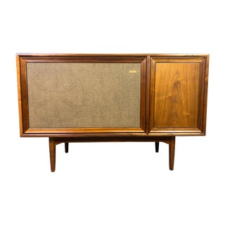 """Vintage Mid Century Modern Walnut """"Declaration"""" Stereo Console by Drexel For Sale"""