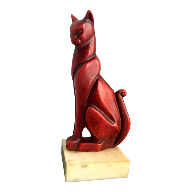Mid-Century Art Deco Bronze Cat Sculpture - Image 1 of 8