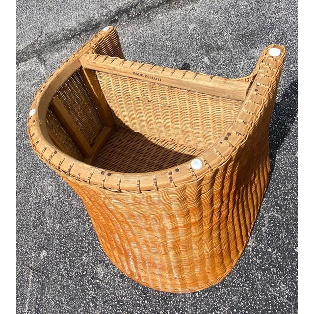 Vintage Boho Chic Rattan Barrel Chairs -Set of 4 For Sale - Image 4 of 13