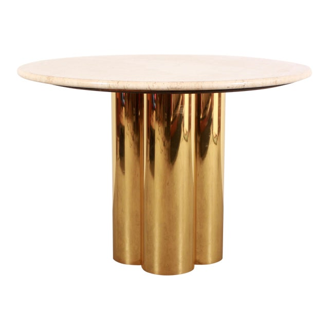 Mid Century Modern Mastercraft Polished Brass Quatrefoil & Travertine Dining or Game Table For Sale