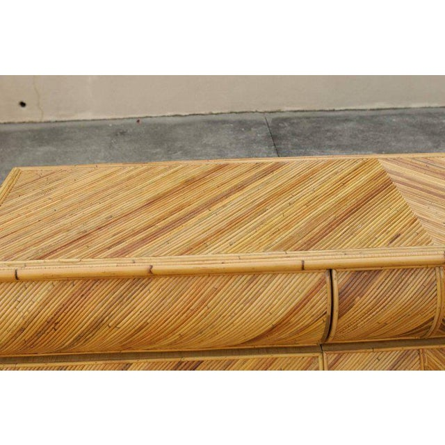 Tan Magnificent Restored Bullnose Nine-Drawer Chest in Bamboo For Sale - Image 8 of 11